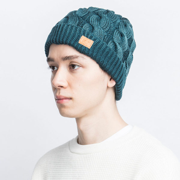 STONE WASH WOOL CABLE KNIT CAP