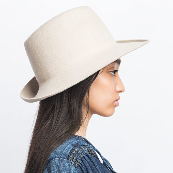 WOOL FELT ASYMMETRY FOLD HAT